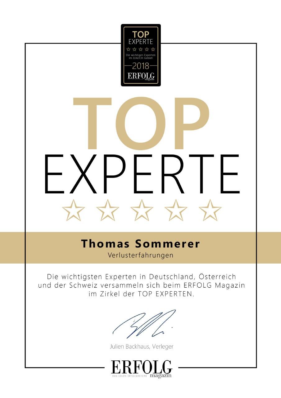 Zertifikat für Trauercoach Thomas Sommerer als Top Experte